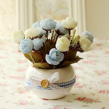 2 pieces boutique flowers European high-grade silk peony artificial flowers home floral Decorative Gifts send with bottle