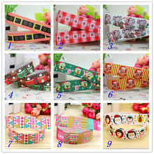 7/8'' Free shipping christmas santa plaid printed grosgrain ribbon hairbow headwear party decoration diy wholesale OEM 22mm S368