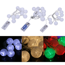 10 LED 1.3M Light Balls String Fairy Lights Colorful Night Lamp For Christmas Xmas Wedding Party Led Lights Decoration(China)