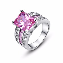 Fashion Jewelry Princess Cut Pink CZ Gems Silver Ring Size 6 7 8 9 10 Lovely Ring for Women Lady Girls Free Shipping Wholesale