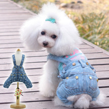 pet pants small Schnauzer Pomeranian dog clothes summer puppy Bib pet casual jeans spring