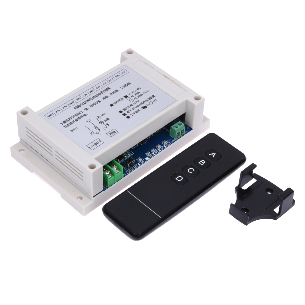 Wide Voltage DC 12V-48V Four-Way Multi-Function Learning Wireless Remote Control Switch 315MHZ / 433MHZ (optional)<br>