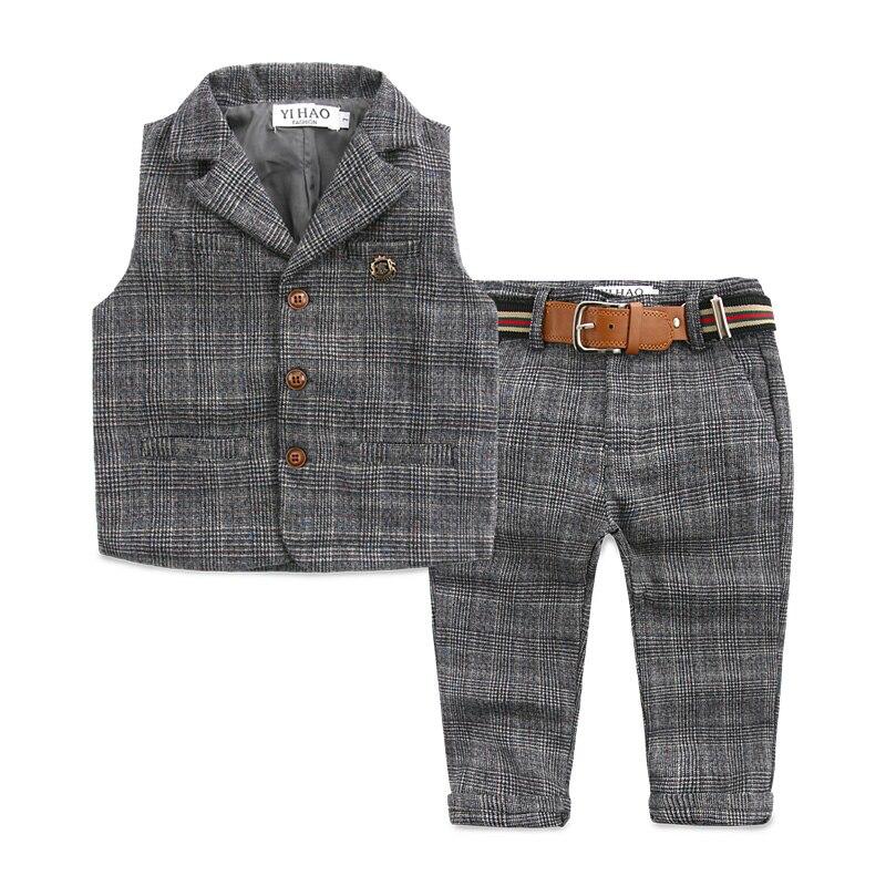 The spring and autumn clothing new boy leisure suit a Korean children baby pants vest Plaid suit<br><br>Aliexpress
