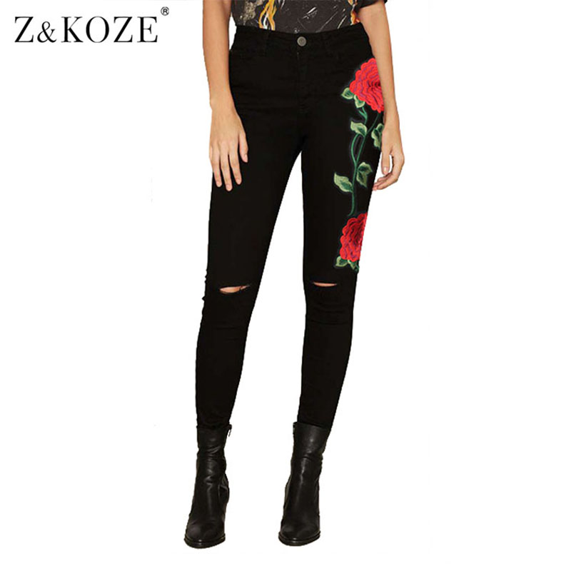 Z&amp;KOZE 2017 New Rose Flower Embroidery Ripped Jeans For Women Plus Size Skinny Jeans Women Black Pants Vintage Denim Pants FemmeОдежда и ак�е��уары<br><br><br>Aliexpress