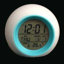 Round Natural Sounds LED Digital Alarm Clock With Color Changing Backlight Novelty Table Clock(China)