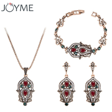 Vintage Indian Turkish Jewelry Sets Gold-Color Wedding Necklace Bracelet And Earrings Women White Red Resin Geometric 2016 New(China)