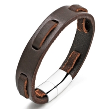 Fashion Jewelry Male Accessories Megnetic Buckle Leather Vintage Stainless Steel Bracelet Delicate Bangle for Cool Man CS2003