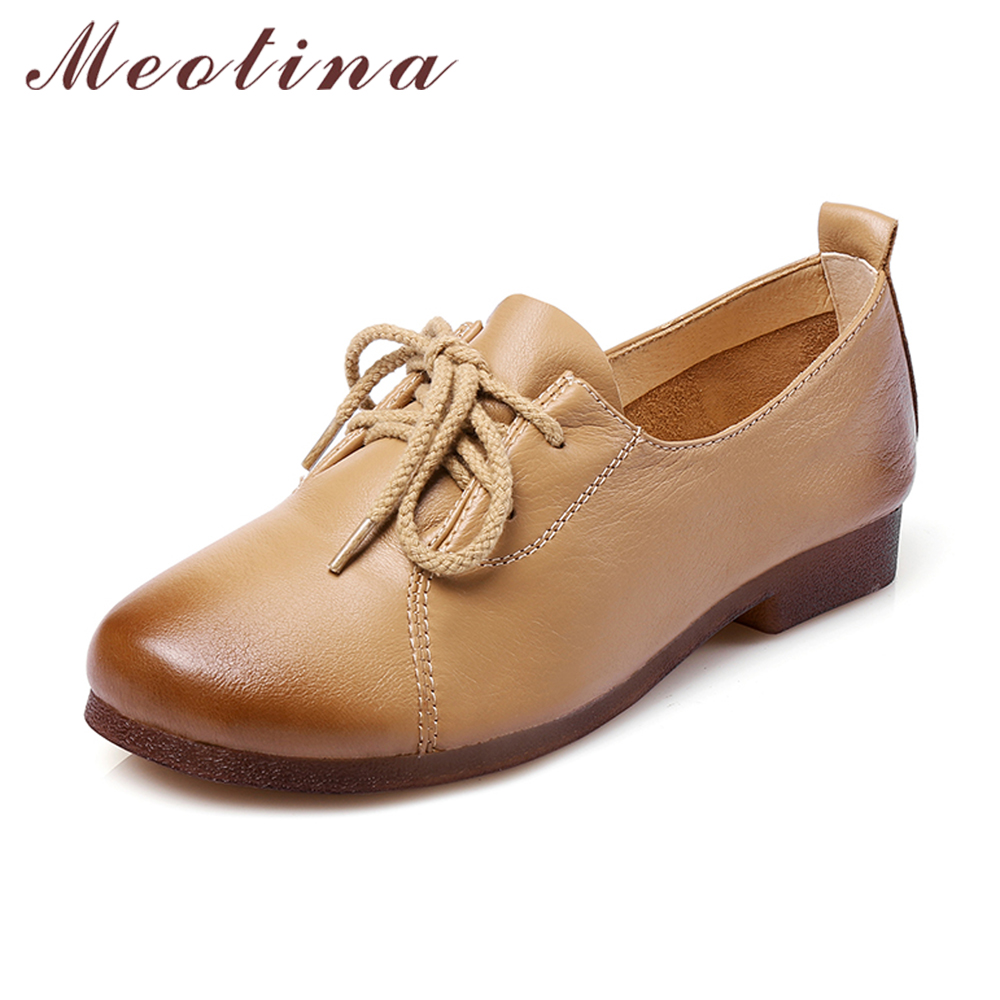 Meotina Genuine Leather Shoes Women Flats Round Toe Lace Up Oxfords Shoes Real Leather Casual Boat Shoes Brown Pink Size 34-40<br>