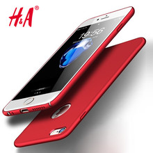 H&A Hard Back Plastic Matte Cases For iPhone 6 Case 5s 6s 6 plus 6s 5 SE Cover For iPhone 7 Plus Case PC Full Red Cover Phone