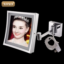 XOXO The hotel bathroom square wall hanging telescopic magnifying cosmetic mirror LED lamp with a single mirror 1119(China)