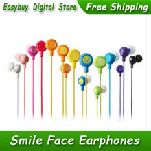 20pcs/lot New High Quality Super Bass Stereo Earphone 3.5mm Smile Face Earphones For MP3 Player & Mobile Phone