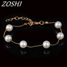 ZOSHI Brand Charm Bracelets & Bangle Gold Color Fashion Simulated Pearl Beads Wedding Jewelry For Women Gift Wholesale Price