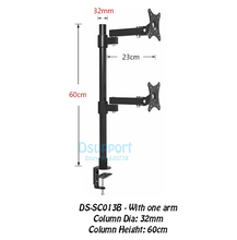 "Desktop Clamping 13-27"" Dual Screen Monitor Holder Long Arm Monitor Mount Retractable Rotation LCD TV Mount Rack Arm Base SC013"