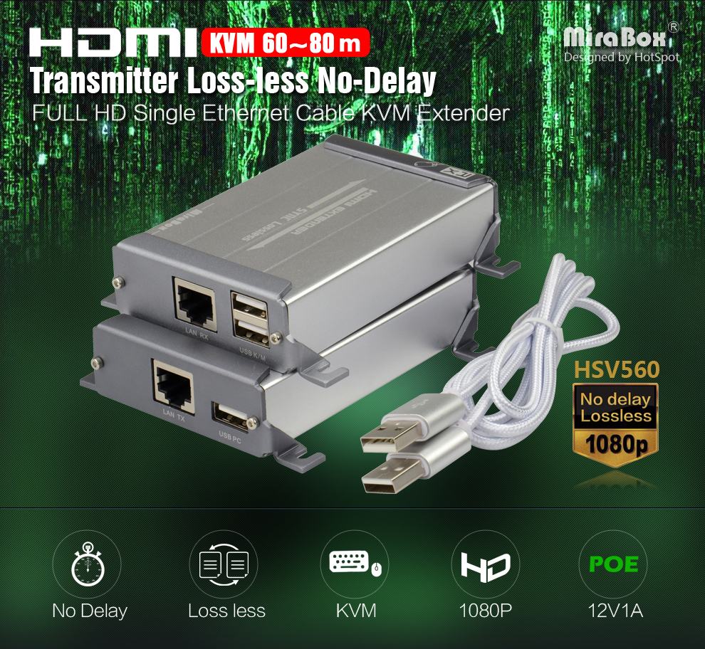 HDMI USB Transmitter and Receiver 80m HD 1080P over UTP STP Cat5 Cat5e Cat6 Rj45 Ethernet HDMI KVM Extender LossLess No Latency (5)