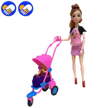A TOY A DREAM Kid Play House Nursery Furniture Stroller Plastic Trolley Accessories Toys For Barbiee Kelly Size Doll Puppet Gift