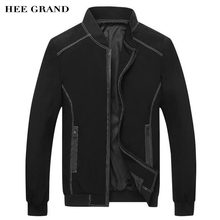 HEE GRAND Men Stylish Jackets 2017 New Spring Autumn Stand Collar Rib Sleeve Slim Fitted Thin Jackets Plus Size M-3XL MWJ2285
