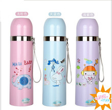 Factory outlets stock cartoon bullet stainless steel mug pink / blue / purple vacuum flask/Insulation Cup 500ml