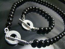 wholesale High Quality Black Onyx Beads necklace & bracelet set, trendy Jewelry set,women / men bracelet + necklace jewelry