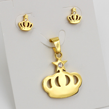 Hot Sale Stainless Steel jewelry set Gold Color Necklace Pendant with Earrings Sets,free chain