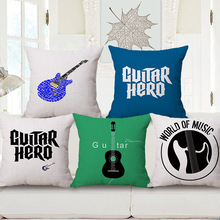 Guitar Hero World of Music Custom Cushion Covers Yellow Maple Leaf Linen Cotton Pillow Cases Baby Bedroom Sofa Decoration(China)