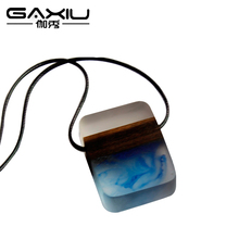 Womens Jewellery Accessories Wood Resin Necklace&Pendant Body Jewelry Wooden Choker Necklace Men Vintage Resin Wood Necklace(China)