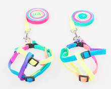 Pet Dog colorful Leash Traction Rope Adjustable Pet rainbow Harness Rope Chest Strap leads