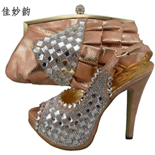 New Arrival Peach Color Shoes and Bag Set Decorated with Rhinetstone Nigerian Shoes and Bag Set for Women Italian Shoes and Bag