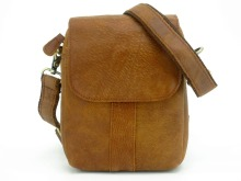 Simplicity Men's Genuine Leather Front Flap Casual Small Shoulder Bag/Waist Pack Camel Brown Brand Design