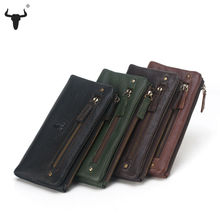 FAMOUSFAMILY Genuine Leather Women Wallet High Capacity Zipper Long Practical Ms Purse Cell Phone Coin Pocket Lady Travel Wallet