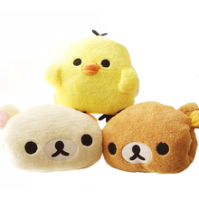 1pcs 30*25cm plush rilakkuma/yellow chicken hand warmer pillow, stuffed animal cushion, Warming hands birthday gift for girls(China)