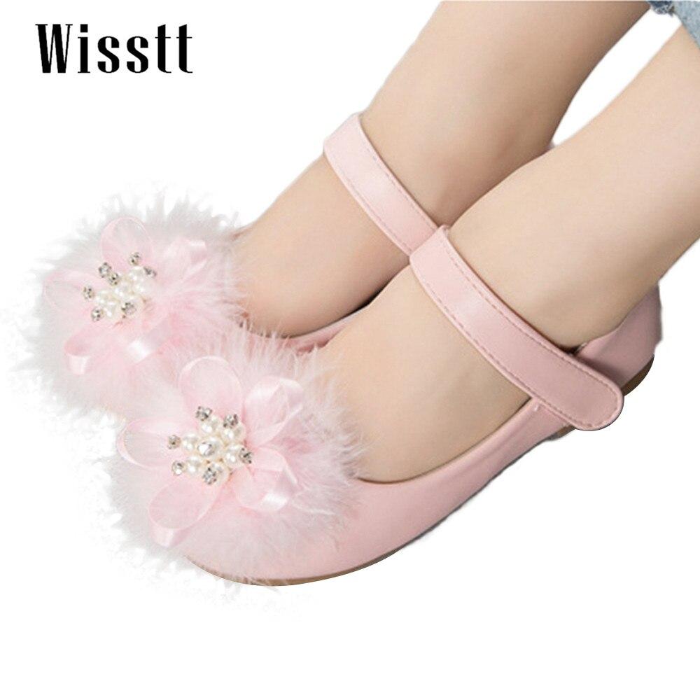 2017  Fashion Sweety Girls Shoes, Plush diamond,High Quality Princess Kids Shoes,Dancing Shoes
