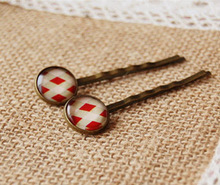 Scottish Tartan Red and White Print Glass Cabochon Hairpins for Girls Women Simple Small Bronze Hair Clips Handmade fq017