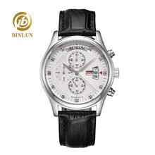 BINLUN 4 Dial Men's Pilot Quartz Watch Week/Date/Hours Display Second timer Luxury Multi-function Quartz Pilot Watch For Men(China)