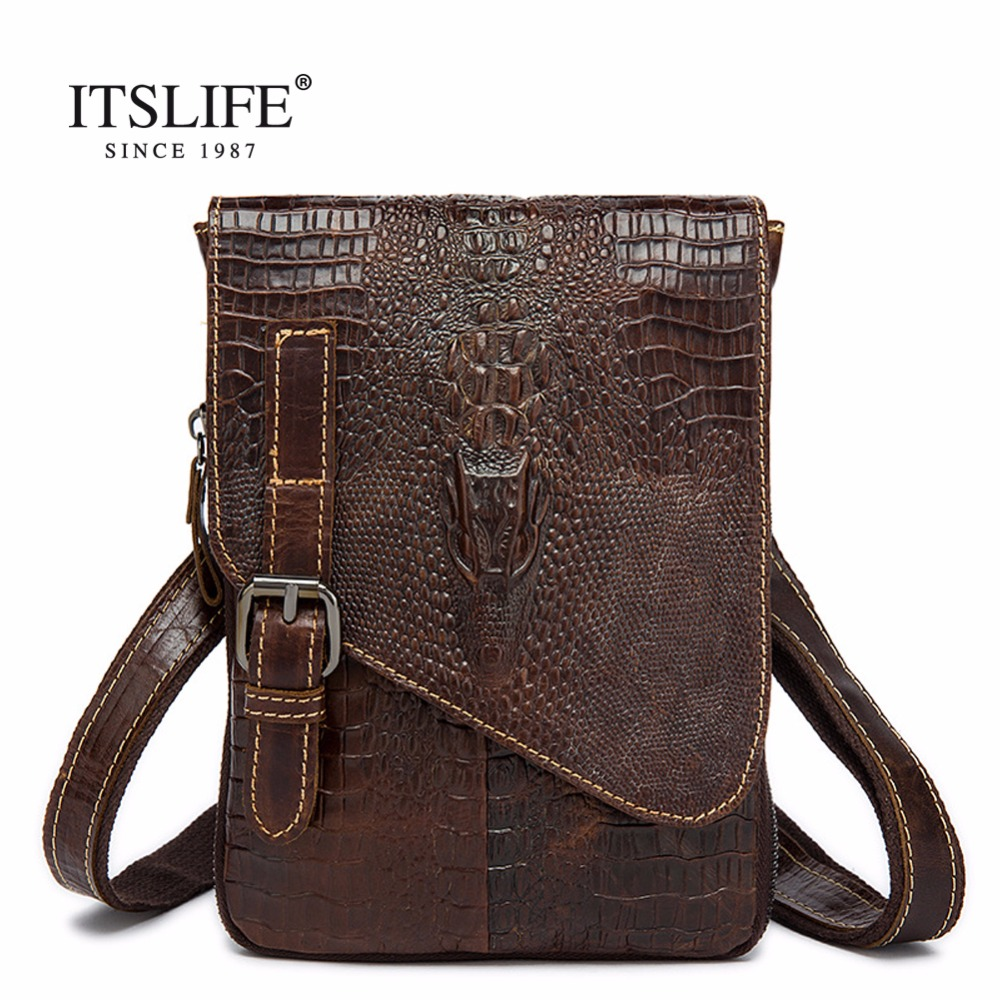 2017 handbag Men Crocodile pattern Messenger bags cow genuine leather Alligator Exquisite craftsmanship free shipping<br>