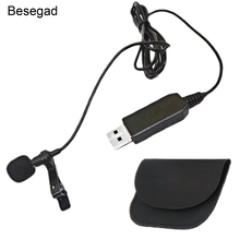 Besegad Portable 1.5m Wired Mini Clip-on USB Lavalier Mic Microphone for Macbook Laptop Skype Audio Video Recording Podcast