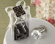 New Arrival 200 PCS/LOT Clear Color Heart Shaped Diamond Ring Keychain Wedding favors and gifts