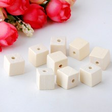 Free Shipping 10/12/20mm Nature Wooden Cube Unfinished Faceted Wood Spacer Beads Finding Square Cubic Beads DIY Accessory