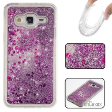 Coque Bling Love Heart Stars Soft TPU Phone Case Cover For Samsung Galaxy J3 Fundas Quicksand Cell Phone Case For Samsung J300 <