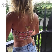 AOMU Fashion Body Jewelry For Women Sexy Alloy Chain Beach Charming Gold Color Butterfly Shape Chain Necklace(China)