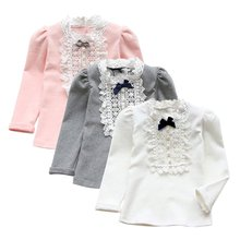 Autumn Winter Toddler Baby Cute Bowknot Shirt Long Sleeve Princess Ruffle Tops Girls Clothes