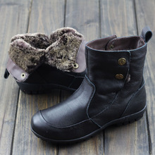 Womens Shoes Australia Fur Boots Black/Brown Genuine Leather Slip on Flat Ankle Boots Woman Winter Boots Shoes (858-5)