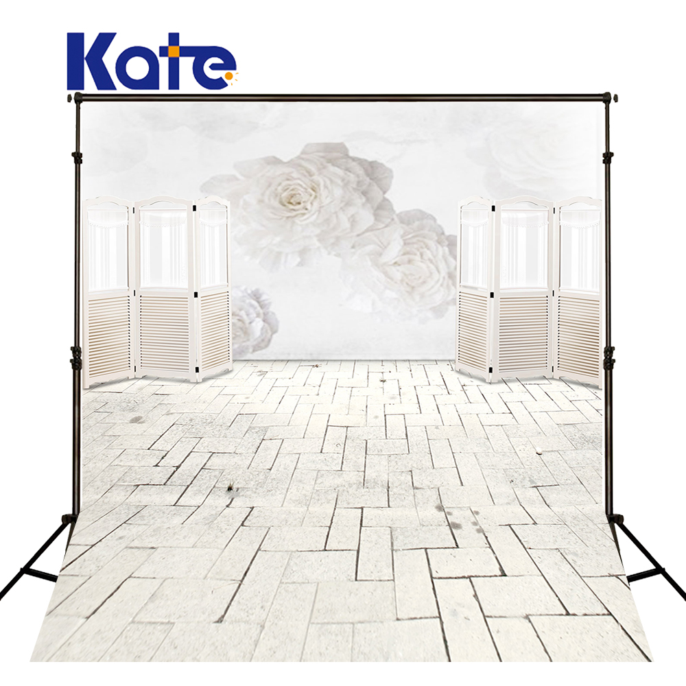 KATE Indoor Wedding Backdrop White Wood Backdrops 3D White Flowers Background Solid Brick Floor Background for Photocall Wedding<br>