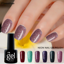 Verntion Bling Nail Gel Polish Soak Off Neon Gel Varnish Need UV LED Lamp Nail art 8ML Semi permanent UV Gel Polish