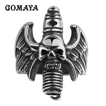 GOMAYA Skull Wings Bullet Rings 316L Stainless Steel Titanium 2017 New Retro Vintage Men Jewelry Women Gift(China)