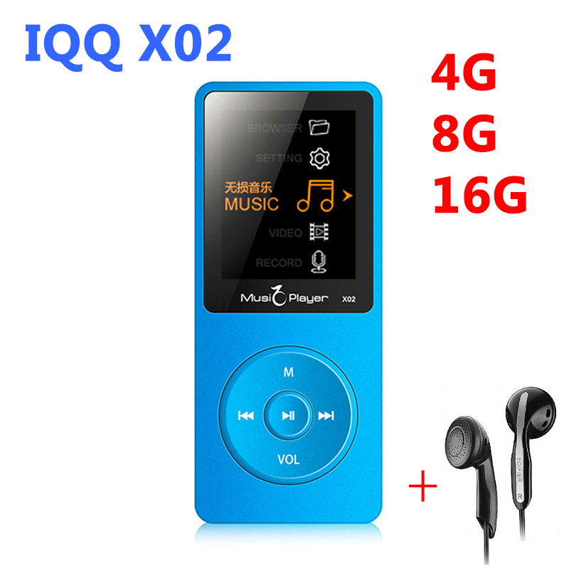 Ultrathin Original IQQ X02 16GB MP3 Player With 1.8 Inch Screen Play 80 hours & FM E-Book Clock Data Sport speaker mic MP3 Music(China (Mainland))