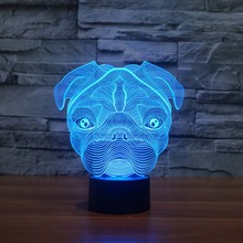 Cute Pug Dog Night Light Baby Animal Led Lights Table Lamps For Home Decor Promotional Gifts For kids(China)
