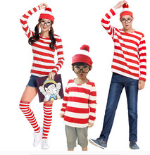 United Kingdom Comic Where's Wally Family Outfit  Cosplay Costumes For Man Woman Children Couples Halloween Christmas Party Set