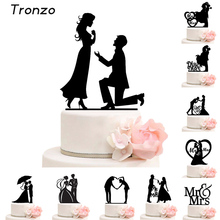 Tronzo Cake Topper Wedding Mr Mrs Acrylic Black Toppers Romantic Bride Groom For Wedding Decoration Mariage Party Favors(China)