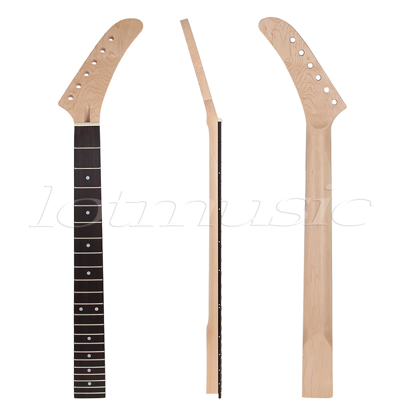 Banana Maple Guitar Neck Dot Inlay 22 Frets For Guitar Replacement Parts Rosewood Fretboard White Dots<br>