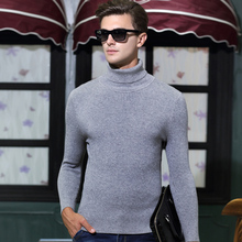 High Quality Winter Mens Turtleneck Solid Color Fashion Design Pullover Thicken Sweater